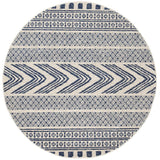 Adani  Modern Tribal Design Navy Round Rug - Lost Design Society