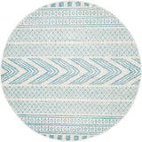 Adani  Modern Tribal Design sky Blue Round Rug - Lost Design Society