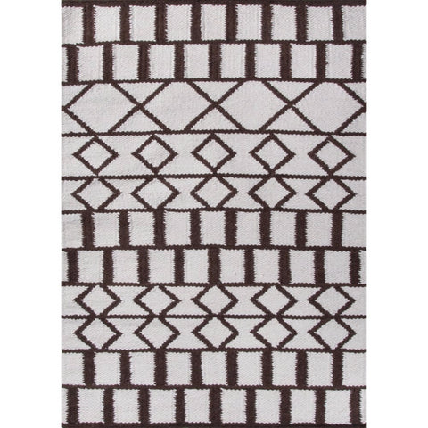 Moroccan Aztec Berber Wool Rug Kilim | Black and White | 120x170cm - Lost Design Society