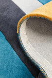 Laura Designer Wool Rug Blue Yellow Grey