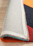 Sandy Designer Wool Rug Rust Blue Navy