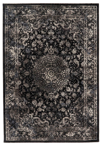 Traditional Nain Knotted Rug | Black Charcoal