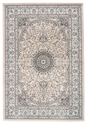 Traditional Nain Knotted Rug | Grey Pattern