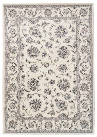Traditional Nain Knotted Rug | Ivory Floral