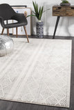 Paradise White And Grey Tribal Transitional Rug