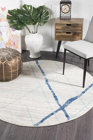 Paradise White Blue Contemporary Round Transitional Rug