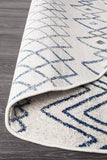 Paradise White Blue Rustic Tribal Round Transitional Rug