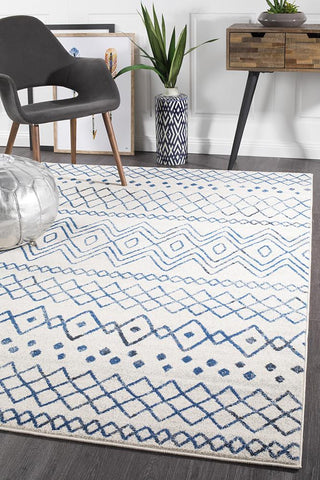 Paradise White Blue Rustic Tribal Rug