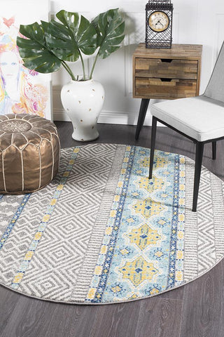 Paradise Blue Tribal Round Transitional Rug