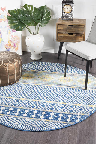 Paradise Navy Tribal Round Transitional Rug
