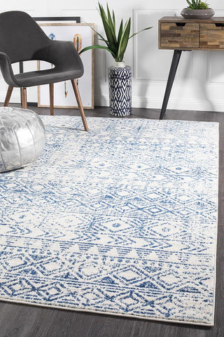 Paradise White Blue Rustic Rug