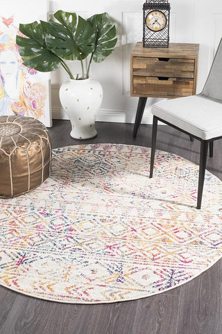 Paradise Multi Grey Rustic Round Transitional Rug