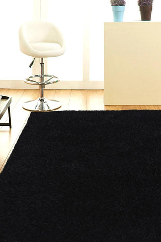 Atlanta Metallic Lustre Shag Black Rug
