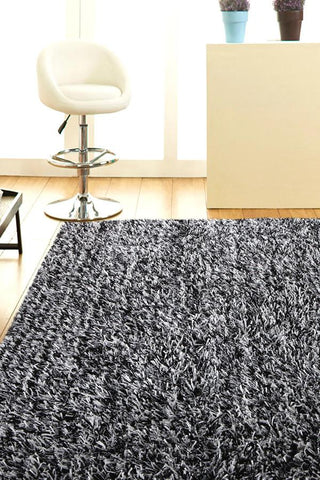 Atlanta Metallic Lustre Shag Black White Rug