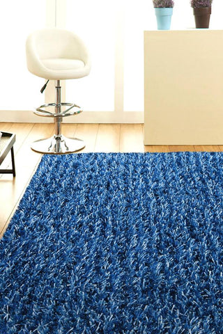 Atlanta Metallic Lustre Shag Blue Navy Rug