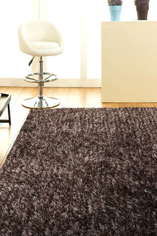 Atlanta Metallic Lustre Shag Brown Beige Rug