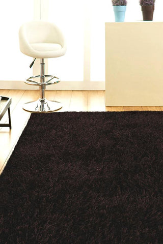 Atlanta Metallic Lustre Shag Choc Brown Rug