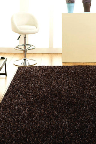 Atlanta Metallic Lustre Shag Dark Brown Rug