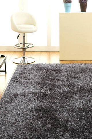 Atlanta Metallic Lustre Shag Grey Rug