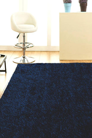 Atlanta Metallic Lustre Shag Dark Blue Rug