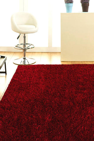 Atlanta Metallic Lustre Shag Red Rug