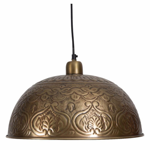Aluminium Merakesh Bowl Embossed Pendant Light | Copper Look - Lost Design Society