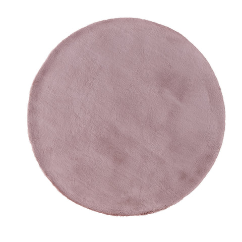Turuun Soft Faux Fur Dusty Pink Round Rug