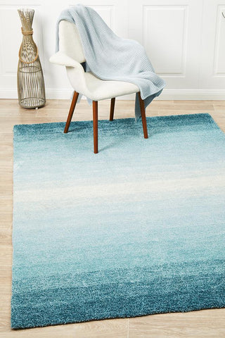 Crescent Blue Textured Rug