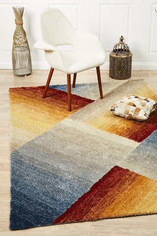 Crescent Textured Rust Grey Rug