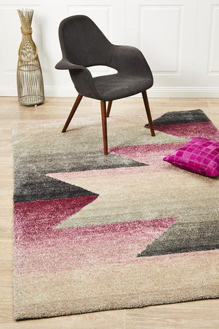 Crescent Pink Grey Textured Rug