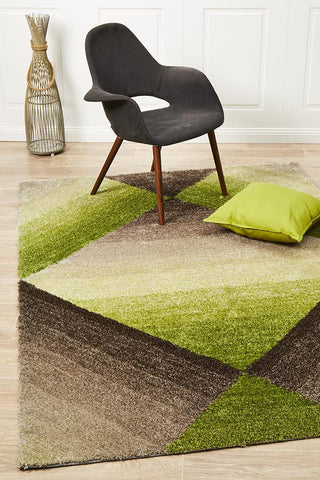 Crescent Green Textured Rug