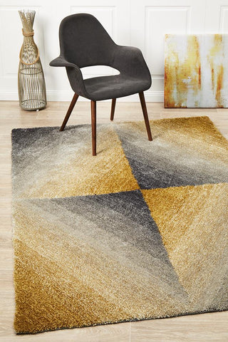 Crescent Grey Gold Textured Rug