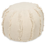 Cream Round Hand Woven Stone Wash Cotton Ottoman - Lost Design Society