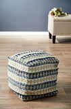 Blue Tribal Stripe Wool Denim Ottoman