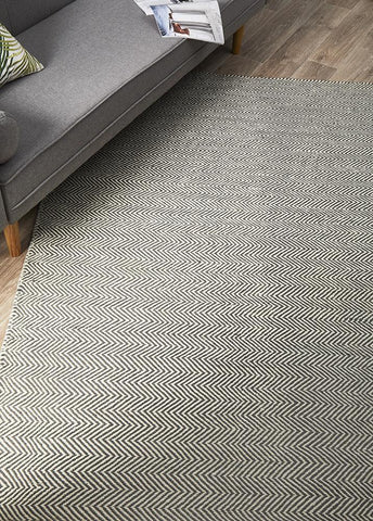 Herring Bone Flatweave Chevron Rug Grey