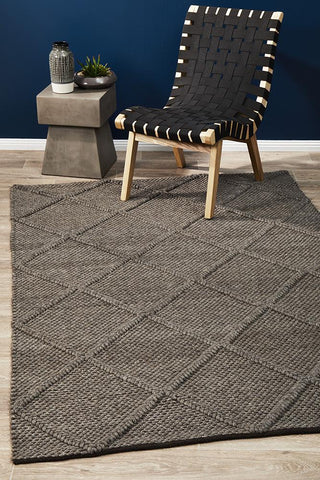 Oberg Wool Diamond Rug Grey