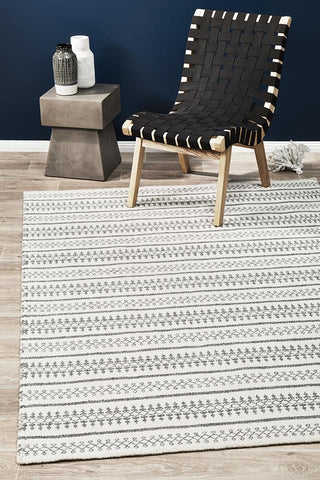 Ester Delicate Lace Woollen Rug Ivory Grey
