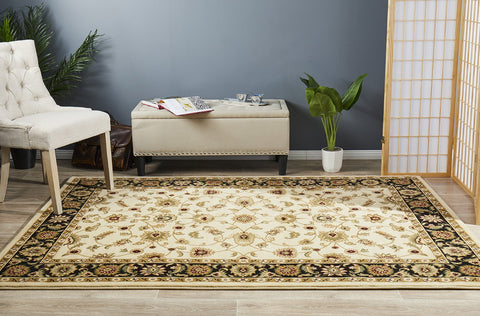 Classic Rug Ivory with Black Border