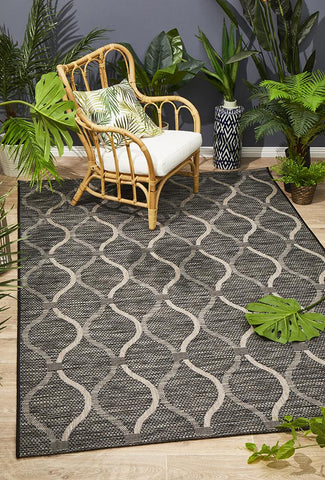 Promenade Indoor/Outdoor Denise Trellis Black Rug