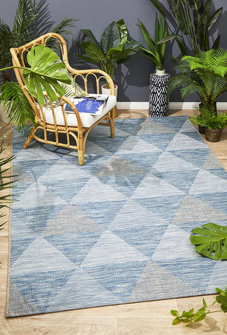 Promenade Indoor/Outdoor Geo Blue Rug