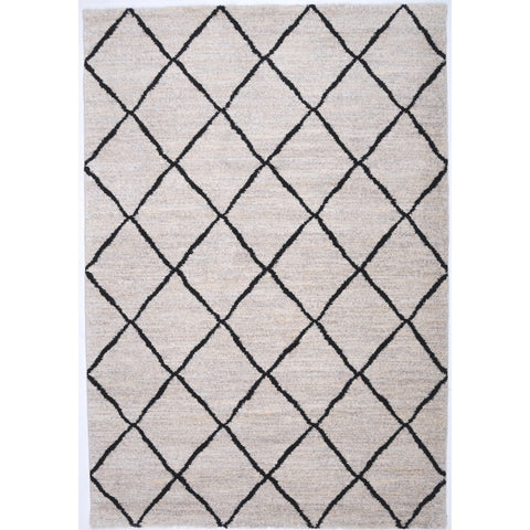 Moroccan Boho Berber Semi Shag Rug | Cream Lattice