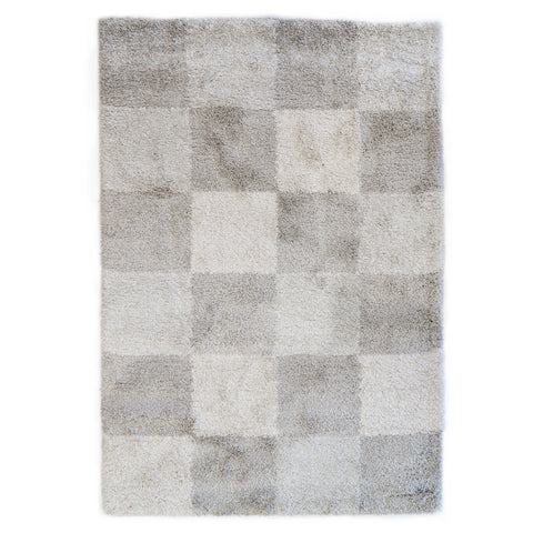 Optimum Geometric Square Beige White Grey Rug