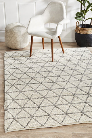 Myriad Madras Felted Wool Rug Blue Ivory