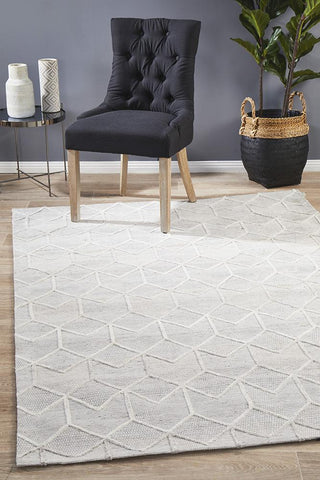 Halifax Wool Grey Brush Modern Rug