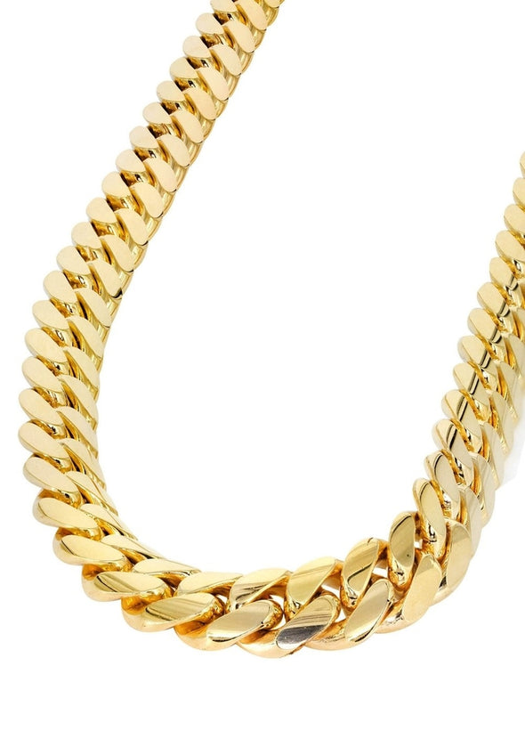 12mm Yellow Gold Cuban Link Chain - Capital Bling Gold HipHop Jewelry