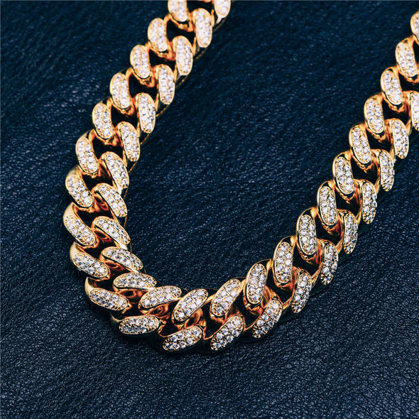 12mm Iced Out Cuban Link Choker Diamond Chain (14k Gold) - Capital Bling Gold HipHop Jewelry