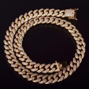 15mm Iced Out Cuban Link Choker CZ Diamond Chain (14k Gold) - Capital Bling Gold HipHop Jewelry