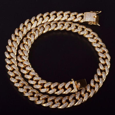 Diamond Cuban Link Choker (15mm) in Yellow Gold - Capital Bling Gold HipHop Jewelry