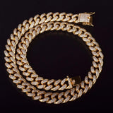 15mm Iced Out Cuban Link CZ Diamond Chain - Capital Bling Gold HipHop Jewelry
