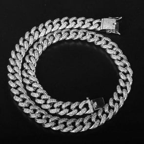 12mm Iced Out Cuban Link Choker CZ Diamond Chain (White Gold) - Capital Bling Gold HipHop Jewelry